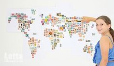 Lotta stamp map - this would be a really neat project to decorate a kids room!