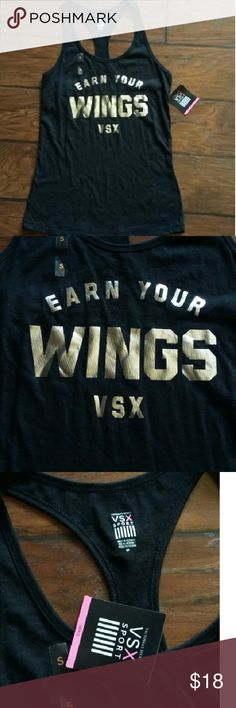 VSX Victoria's Secret Earn your wings black tank S Black with silver print, new with tags size Small Victoria's Secret Tops Tank Tops