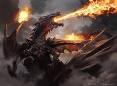 Drakuseth, Maw of Flames - Magic the Gathering by 88grzes on DeviantArt Dnd Dragons, Cool Dragons, Dungeons And Dragons, Fantasy Monster, Monster Art, Magical Creatures, Fantasy Creatures, Tiamat Dragon, Dragon Occidental