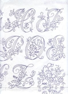 Rose Alphabet 4 of 8 Tambour Embroidery, Embroidery Alphabet, Embroidery Monogram, Hand Embroidery Designs, Ribbon Embroidery, Embroidery Stitches, Letter Stencils, Sewing Art, Monogram Letters
