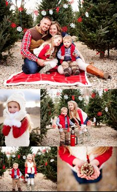 This family photo shoot is too cute...might be a little too much red though. Fun poses and cute location! Family photography | Christmas photos | holiday photography | family of 4