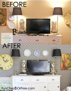 DIY faux wallpaper using starch  fabric. Easy, removable, and reusable too! #diy #fabric #wallpaper