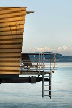 Hotel Palafitte in Neuchatel Switzerland: side view of a room (each room access the lake) Zermatt, Winterthur, Destin Hotels, Hotels And Resorts, Lakeside Hotel, Chateau Hotel, Water Bungalow, Switzerland Hotels, Floating Hotel