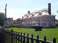 View of New York State's Philipse Manor Hall State Historic Site located on Warburton Avenue in Yonkers