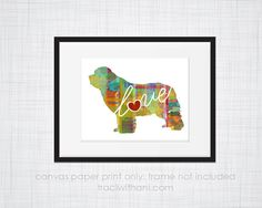 Newfondland Newfie Love  Canvas Paper by TraciWithaniDesigns