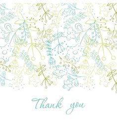 Card with doodle flowers vector thank you note - by Lidiebug on VectorStock®