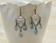 Raindrop earrings oxidized sterling silver with by CalliopeBridal, $95.00