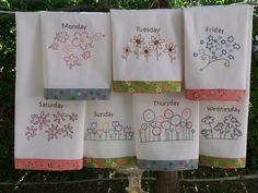 Perfect Embroidery Pattern For 7 Flower Tea Towels, One For Each Day Of The Week.  Different Flower Patterns  Hand Embroidery  Can Be Done As Red Work Part 17