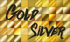 ゴールドとシルバーのグラデーション素材