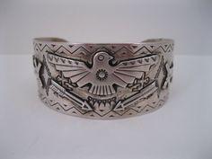 THE BEST Old Fred Harvey Navajo Silver Bracelet w Thunderbird-Arrows-Dogs