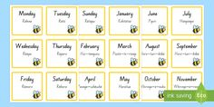 Print them onto sticky paper, or laminate them, and use them as a display or to help learn the days and months. A handy resource for any junior classroom. Days Of Week, Days And Months, Sticky Paper, April May, Classroom Organisation, Busy Bee, Language, Display, Learning