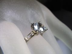 1950s,14K White Gold Ring,Engagement Ring,2 ct White Topaz Ring,Baguette Accented Shoulders,Wedding Ring,Bridal Ring,Vintage Ring – Size 6.5 by CarolsVintageJewelry on Etsy