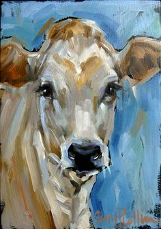 """Elsie"" - oil painting by Amy P. Collins #cows #field #painting #nature…"