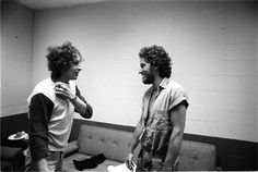 """Dylan & Springsteen meet for the first time backstage in 1975. One of the many historic photos in Ken Regan's new book """"ALL ACCESS""""."""