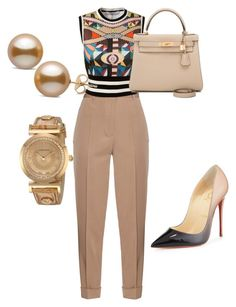 """Untitled #29"" by sweetel on Polyvore featuring Bottega Veneta, Givenchy, Christian Louboutin, Hermès and Versace"