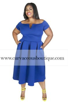 NEW ARRIVAL ALERT   ROYAL BLUE DOROTHY POCKET FLARE DRESS *( MODEL WEARING 1X )) SIZE  1X  2X  3  COLORS  WHITE  BLUE  ROYAL BLUE  WWW.CURVACEOUSBOUTIQUE.COM & IN STORE ❎VISIT THE WEBSITE FOR ALL DETAILS and PRICE ❎  WE SHIP WORLDWIDE