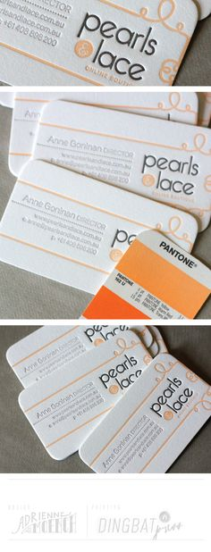 Pearls & Lace business cards. Letterpress printed by Dingbat Press.