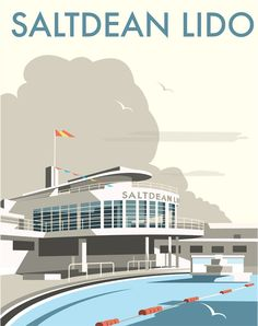Saltdean Lido by Dave Thompson, signed open edition print, 400 x 500 mm…