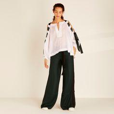 Ladies Designer Tops | Luxury Womens Shirts | Amanda Wakeley UK Ladies Designer Tops, Bow Hunter, Amanda Wakeley, Shirt Blouses, Shirts, Bell Sleeve Top, Feminine, Silk, Luxury