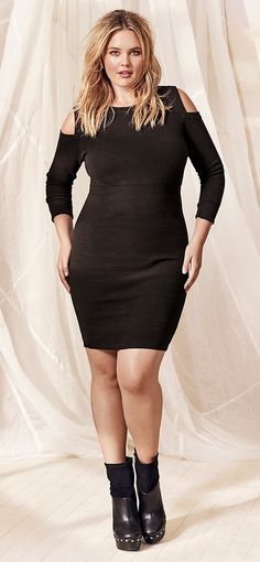 Plus Size Ribbed Knit Cold Shoulder Sweater Dress