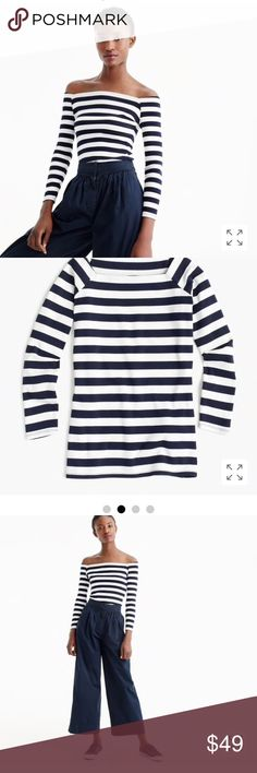 NWT J. CREW LONG SLEEVE OFF SHOULDER STRIPED TOP NWT J. CREW OFF SHOULDER STRIPED TOP WITH STRETCH. FORM FITTING & SEXY. SOLD OUT!!! ONLINE PURCHASE NO TAG IN PACKAGING. SEE PICS FOR DETAILS. SIZE L. J. Crew Tops Tees - Long Sleeve
