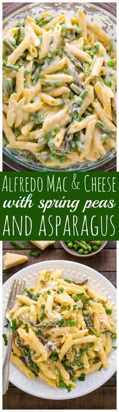 Creamy Alfredo Mac and Cheese with Spring Peas and Asparagus! So hearty and comforting.