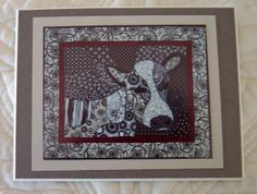 Zentangle cow in fabric  Photo Magnet Zentangle Cow on The CraftStar @TheCraftStar #uniquegifts