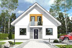 Projekt domu z poddaszem o pow. 108,4 m2 z dachem dwuspadowym, z tarasem, sprawdź! Micro House, Attic Rooms, Modern House Design, Home Goods, House Plans, Garage Doors, Shed, Home And Garden, Exterior