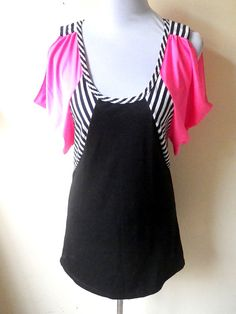 black and neon pink color block with nautical stripes A line dress by VintageHomage, $15.00