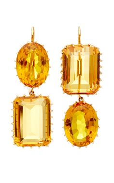 One Of A Kind Alternating Citrine Earrings by Renee Lewis for Preorder on Moda Operandi