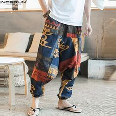 ChArmkpR Mens Casual Baggy Cotton Harem Pants Ethnic Style Printed Loose Wide Leg Pants is warm, see other men pants on NewChic. Harem Pants Fashion, Harem Pants Men, Cotton Harem Pants, Men's Pants, Street Dance, Linen Trousers, Cropped Trousers, Streetwear, Thai Fisherman Pants