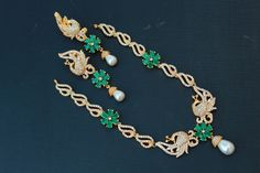 Exclusive Cz peacock emerald Necklace   Buy online Jewellery   Elegant Fashion Wear Price;3600 #latest #cz #emerald #peacoxk #neckles