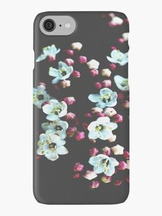 Viburnum Flowers iPhone Cases & Skins by ARTbyJWP from Redbubble #iphonecases #phonecases #phoneaccessories #floral #blackwhitepink --   Close-up of beautiful viburnum flowers on a dark background. • Also buy this artwork on phone cases, apparel, stickers, and more.