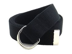 "Thin Web Belt Double D-Ring Buckle 1.25"" Wide with Metal Tip Solid Color (M-Black)"