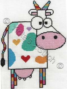 Funky Cow Free Cross Stitch Pattern  •  Cross Stitch