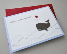 Valentines day card - whale. $4.00, via Etsy.