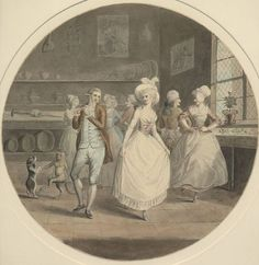 "Illustration to ""Sentimental Journey"" by Lawrence Sterne - the dance at Amiens. Pen and grey ink and watercolour , by W Harding 1787-1792. (British Museum)) Tumblr"