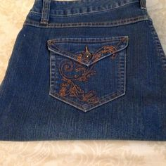 Style & Company Jeans Style & Company Boot Leg Jeans Size 18 - embroidered buttoned back pockets Style & Co Pants