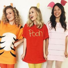 Group Halloween Costume Ideas Perfect for Your Sorority Sist.- Group Halloween Costume Ideas Perfect for Your Sorority Sisters Winnie the Pooh and Friends - Costume Halloween Pour 3, Halloween Diy Kostüm, Cute Group Halloween Costumes, Cute Costumes, T Shirt Costumes, Couple Halloween, Halloween College, Simple Costumes, Bff Costume Ideas