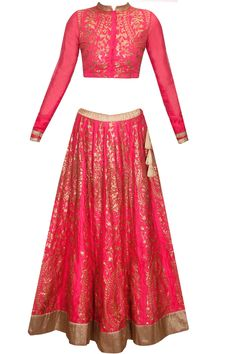 Pink and bronze sequins embroidered lehenga set availaible only at Pernia's Pop Up Shop.