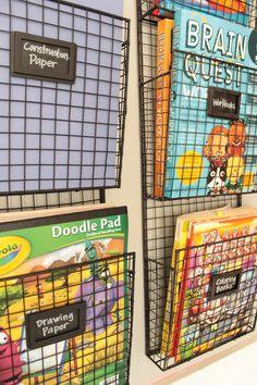 California To Carolina: Kid's Organized Art Area Art Classroom Decor, Playroom Art, Playroom Organization, Playroom Design, Playroom Ideas, Toddler Playroom, Kids Art Area, Kids Room Art, Book Drawing