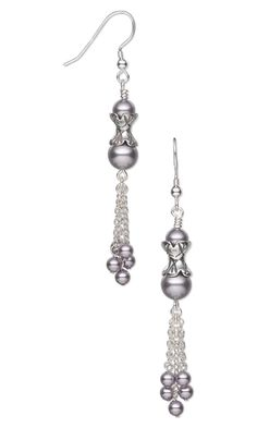 Jewelry Design - Earrings with Swarovski Crystal Pearls, Antiqued Sterling Silver Beads and Sterling Silver Chain - Fire Mountain Gems and Beads Jewelry Design Earrings, Bead Jewellery, Bead Earrings, Designer Earrings, Beaded Jewelry, Chandelier Earrings, Silver Earrings, Jewlery, Swarovski Crystal Earrings