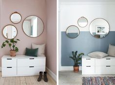 A thousand and one ways to decorate with round mirrors you'll love - Decor Scan : The new way of thinking about your home and interior design Home Interior, Interior Decorating, Interior Design, Decor Room, Bedroom Decor, Sas Entree, Ikea Nordli, Cozy Apartment Decor, Elegant Homes