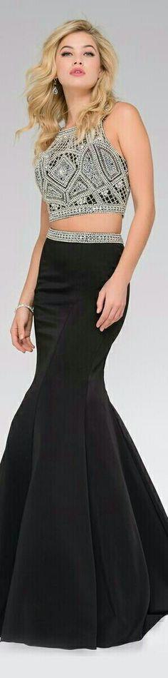 2606679df3f76 JOVANI 🌷2-PIECE Prom Gown Black Mermaid-Style Funnel Skirt w. Beaded Waist  Belt, Beaded Geometric Shaped Pattern Halter Top 🌷#41441🌷❤
