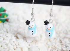 Re-Pin By @siliconem -  Polymer Clay Christmas Snowman Earrings in BLUE by Linnypigs on Etsy, $12.00