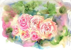 "A bunch of roses  in watercolors. Who doesn't love flowers?    Size: 10""x 7"" 200 gsm watercolor paper    A perfect gift item !!    No frame, Supplementary images with frame/interior walls for reference purposes only and not to scale.    The colors/contrast of the original paintings may slightly vary from what one views on the computer monitor/mobile screen due to difference in settings.    Dispatched from India within 3 to 5 working days of credit in account by Paypal. This will be shipped…"