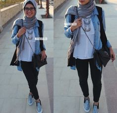 Hijab outfit  Black pants and jeans jacket.