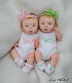 OOAK Handsculpted Twin Baby Girl Art Doll Minis By Gina Holland