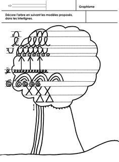 Décorer un arbre en respectant des interlignes. Fiche pour des MS déjà bien avancés en graphisme ou pour des GS (en différenciation): dans la fiche suivante, des lettres cursives remplaceront les graphismes. Les signes graphiques sont proposés avec des...