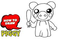 How to draw Piggy Summer Art, Easy Drawings, Art Tutorials, Line Art, Make It Yourself, Fictional Characters, How To Draw, Simple Drawings, Line Drawings